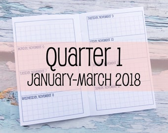 Traveler's Notebook POCKET Size Week on Two Pages Grid Horizontal {Q1 | January-March 2018} #600-16