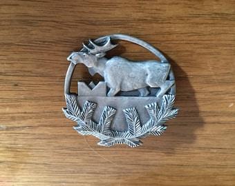 Antique Sterling Silver Moose Brooch, Arts & Crafts Period