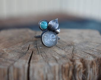 Sterling Silver Oxidized OOAK ring Moonstone Turquoise Unique Size 52/US6