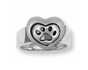 Dog Paw Ring Jewelry Sterling Silver Handmade Dog Ring PW8-R