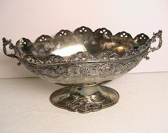 Grapevine Design Silverplate Oval Pedestal Dish, Heavy Vintage Fruit Double Handled Pedestal Bowl