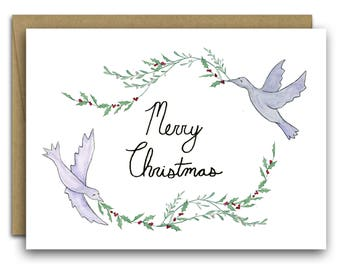 Doves with Holly and Mistletoe Christmas Card