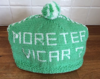 Hand Knitted 'More Tea Vicar' Vintage Look Tea Cosy