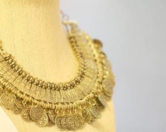 Coin Necklace, Chunky Bohemian Gypsy statement Ethnic Necklace, Vintage Gold Necklace, Kuchi Necklace, Vintage Women's Gift, Gift for her