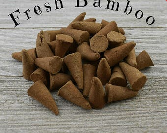 Sale -  Fresh Bamboo Incense Cones - Hand Dipped Incense Cones