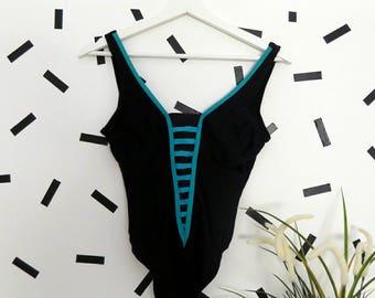 Vintage 90's Stripes SwimSuit size S
