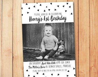 Monochrome Invitation - Kids Birthday Invitation