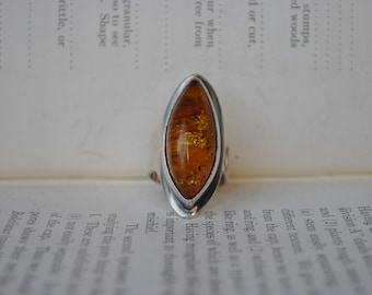 Vintage Amber Ring - 1960s Modernist Sterling Amber Ring