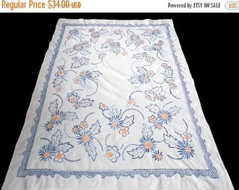 25% SUMMER SALE Big white linen tablecloth with blue floral hand embroidery embroidered table cloth with FLOWERS 40s
