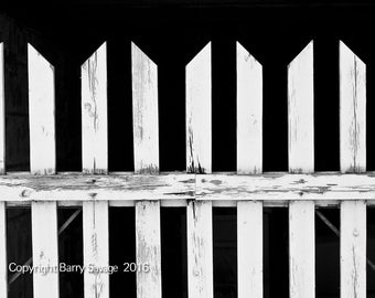 White Fence black and white 4x6, 5x7, 8x10 and 11x14