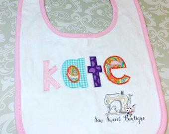 Personalized baby bib, name bib, baby gift, baby girl, baby shower gift, applique name bib