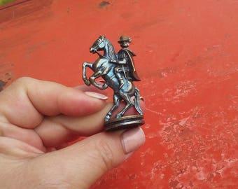 Vintage brass medieval knight, horserider statue, blue patina, medieval miniature knight, fairy garden decor, prop, shadow box (pras)