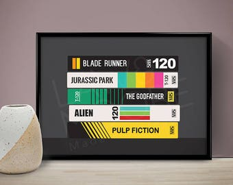 VHS Tapes Personalised Poster, Wedding Gift, Birthday Gift, Present, Gift