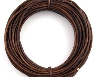 Brown Natural Dye Distressed Round Leather Cord 2mm 100 meters (109 yards)