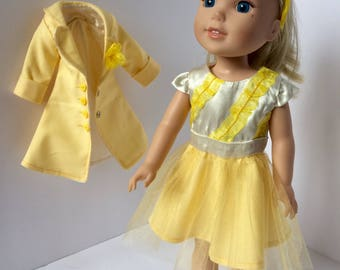 "14.5"" doll outfit. Wellie Wisher doll clothing. Yellow spring dress and jacket."
