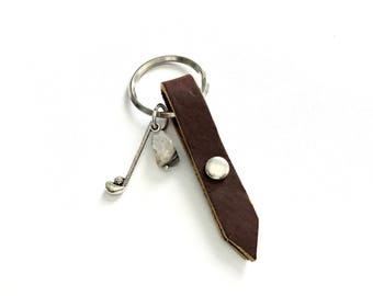Free Shipping,Handmade Golf Key Chain,brown leather key chain,gift for dad,golf dad,golf club charm,golf key chain,father's day gifts,golf