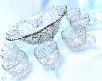 Punch Bowl, cups, and ladle, The Concord Clear by McKee, party ware, large glass bowl
