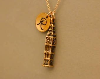 Big Ben necklace gold Elizabeth Tower - london tower charm - big ben gift - big ben chian  - monogrammed necklace - london clock tower