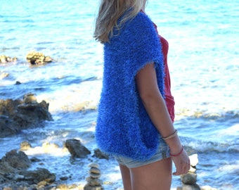 Blue womens bolero Shrug knit summer Wedding shoulders warmer cover up Women shrug Boho shrug Beach knitwear country loose knit clothing