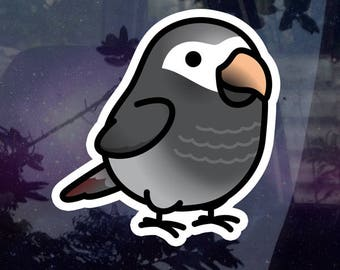 """Chubby Timneh African Grey 3.5"""" Sticker [Outdoor Quality]"""