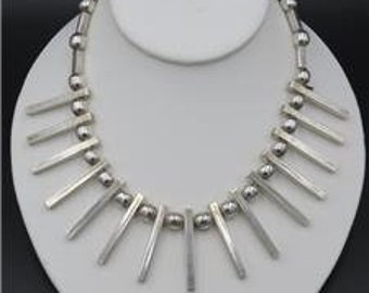 """Vintage AC Taxco Mexico 925 Sterling Silver Ball Bar Modernist Choker Necklace 16"""""""