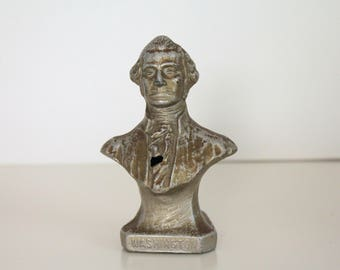 Vintage George Washington Pot Metal Bust, President Washington,