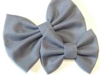 Gray Solid Bow | Fabric Bow | Handmade Hair Bow | Hair Clip | Headband