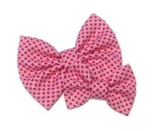 Mini Hearts Fabric Bow | Fabric Bow | Handmade Hair Bow | Hair Clip | Headband