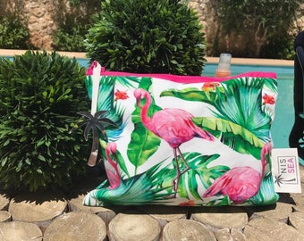 Flamingo and palm leaf print waterproof pouch