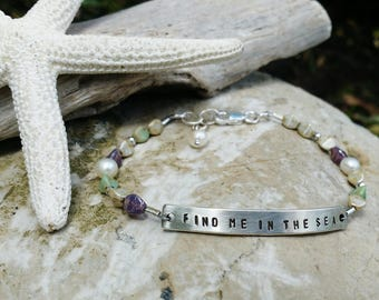 Find Me In The Sea Bracelet, Beach Hand Stamped Beaded Bracelet, Sterling Bar Gem Bracelet, Beach Bracelet