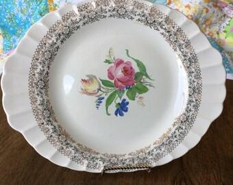 "Fairbanks Ward, Sharon pattern, vintage platter, gold filigree, floral center, 11 1/2"" X 9 1/4"""