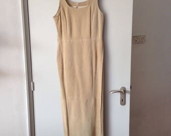 Long vintage suede dress.