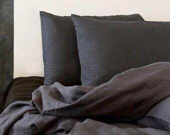 Dark Gray Pillow Case / Softened Linen/ Linen Pillow Case/ Natural Linen/Gray Linen
