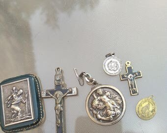 lot 6pcs  French antique  bronze religious medals virgin mary our lade St Christoph heart crucifix Christian jewelry jesus rosetree wood