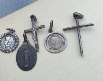 lot 5pcs French antique 19th century sterling silver medals crucifix cross pendant reliquary filigree gothic gemstone