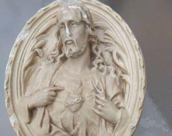 2pcs large french antique plaster religious sculpture miniature religious Jesus sacred heart Vintage St spirit N D de peace signed