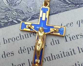 lot 6pcs French Vintage gold plated cross crucifix in solid brass gold blue enamel cross jesus Jesus catholic souvenir sapphire blue cross