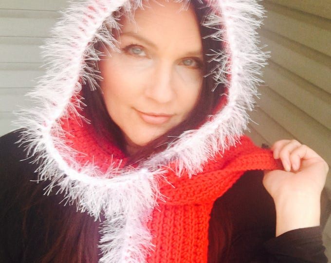 Crocheted Hooded Scarf-Hoodies-Christmas  Hats-Women's accessories -Fuzzy Scarf-Red and White Hooded Scarf