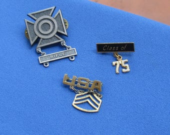 Lot Of Retro Military Style Pins USA Class Of 75 TLC