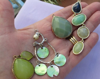 Lot Of Retro Green Salvaged Pendants One Dangle Chipped