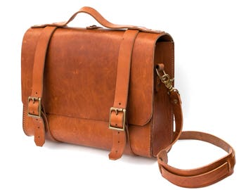 Mens messenger bag, Travel Bag, Weekend Bag, Leather Rugged Briefcase, Waxed Leather, 100% UK made. The Franklin Leather Satchel
