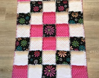 Flannel quilt, Flannel blanket, Baby blanket, Girl quilt, flower, pink polkadot, baby gift ; 10% of purchase price charity of buyer's choice