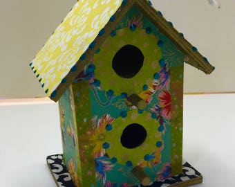 Colorful Turquoise Flower Washi Wooden Birdhouse Ornament