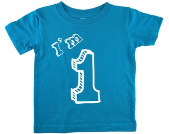 I'm One T Shirt - First Birthday Party 1 Year Old - Turquoise