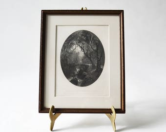 Antique Engraving Titled A Reminiscence of the Catskills Mountains by J. Smillie Engraver Wall Art Gallery Black White Framed