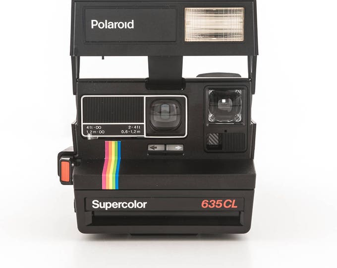 Featured listing image: Polaroid 600 Supercolor 635CL Instant Camera - Black Body Rainbow Stripe - Tested and Working