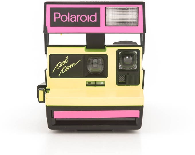 Featured listing image: Polaroid Cool Cam Neon Pink and Yellow - Polaroid 600 Instant Camera Tested and working - RARE Polaroid