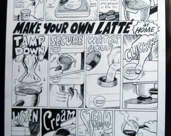 Make Your Own Latte orginal comics art by David Lasky