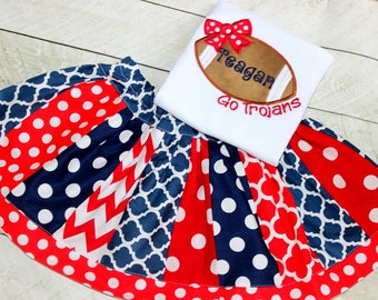Girls football outfit Red white and blue football shirt with matching skirt for toddler baby girl Size 2t 3t 4t 5t 6 8 10 12 navy red set