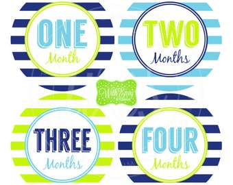 Baby Boy Monthly Stickers - Striped Baby Month Stickers - Baby Boy Growth Stickers - Boy Milestone Stickers - 052